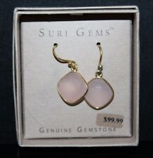 SURI Gems SS 18K Yellow Gold Plate Pink Chalcedony Cushion Dangle Earrings