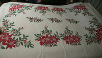 Vintage Cotton TABLECLOTH, Christmas Red Poinsettia, Bells,Ornaments,Holly 92X60