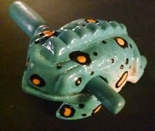 BLUE  WOODEN FROGS MUSICAL INSTRUMENT HANDCRAFT WOOD TOY PERCUSSION  FROG RIBBIT