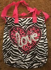Justice Girls Messenger Bag Zebra Print With love On The Front