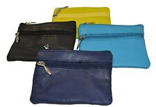 Leather Coin Purse / Mini Wallet / Key Pouch - 2 Zippered Sections