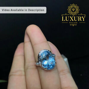 Natural Swiss Blue Topaz 12 Carat Gemstone 925 Sterling Silver Romantic Rings
