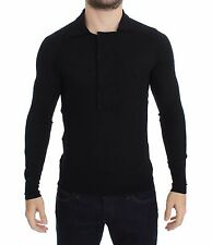 NWT $350 COSTUME NATIONAL HOMME Black Fine Wool Polo-neck Sweater Pullover s. L