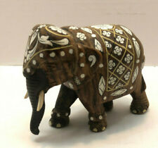 Hand Carved Wood Elephant Figure With Painted White Flowers Design