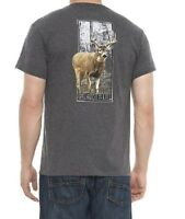 Heybo Mens Big Whitetail Buck Deer Antlers Hunting T Shirt Tee Charcoal Size XL