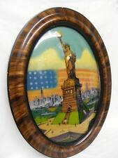 Vintage Reverse Painted Statue Of Liberty Painting ~ Beautiful Domed Glass Frame