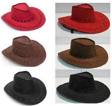 Cowboy Hat Velour Cowgirl Bandit Wild West Cattleman Fancy Dress Party Costume