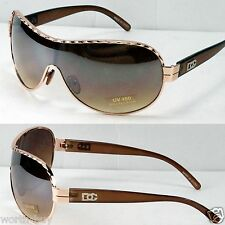 New DG Mens Designer Shield Semi Mirrored  Sunglasses Fashion Brown Gold Metal