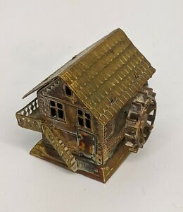 Antique Gilt Brass Water Mill Novelty Tape Measure - Fine Quality Sewing Rule