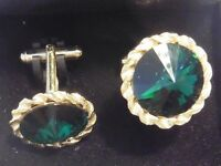 BOUTONS DE MANCHETTE STRASS PYSCHEDELIQUE VINTAGE 1970 NEUF/OLD NEW CUFF LINKS