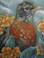 Robin bird wildlife Primrose print of painting