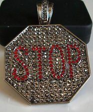 Black Hematite  Finish Hip Hop Bling Rapper Style Fashion STOP SIGN Pendant