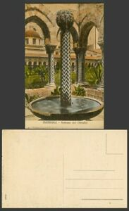 Italy Old Colour Postcard Monreale Fontana del Chiostro Cloister Fountain Arches