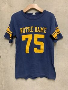 Notre Dame Champion Blue Bar Jersey Shirt Vintage 70s Football Navy S/M