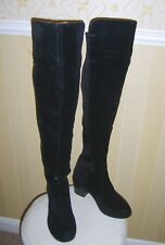 Ladies Black Over the Knee Block Heel Pull on Boots UK4 Faux Suede Used