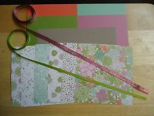 "Stampin Up SUCCULENT GARDEN 6 X 6"" Designer Paper Card Kit Ribbon Flowers"