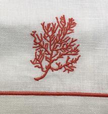 William Sonoma Linen Guest Hand Towels Orange Branch Coral/Ocean Design