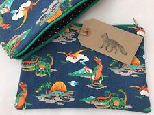 Large Handmade Cath Kidston Mini Dinosaurs Make Up Cosmetics Bag Purse Polka Dot