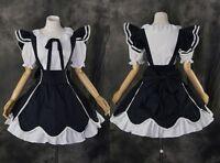 m-3237 S / M/L/XL/XXL Blanco Azul Oscuro Blanco Lolita Vestido cosplay disfraz