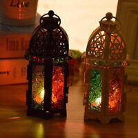 Glass Moroccan Lantern Tea Light Holder Candlestick Home Festival Hanging Decor