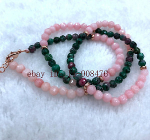 New 4mm Pink Jade & Green Ruby Round Faceted Gemstone Necklace 16-24 inches
