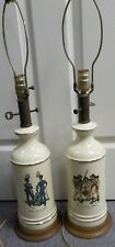Pair of Vintage Table Lamps Hand Painted & Signed H.C. McBarron Jr. / Military