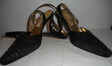 Ann Marino Vintage Shoes 7.5 B Black Ankle Straps Embroidered Beads Sandals