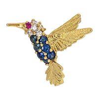 BROOCH 14K Yellow Gold Sapphire Ruby & Diamond Hummingbird Bird - Estate Jewelry