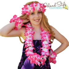 Lei SET Pink Floral Necklace Hawaiian Fancy Dress Costume