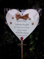 Christmas memorial stick plaque grave ornament handmade, personalised,waterproof