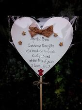 Christmas Grave Ornament Personalised Memorial heart gold silver waterproofstick