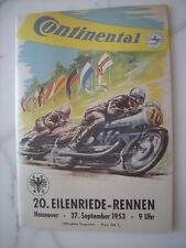 Rennprogramm Eilenriede Rennen Hannover Deutschland 1953 - über 50 Seiten ADAC