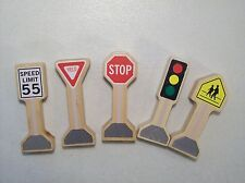 LOT OF 5 MELISSA & DOUG WOOD SIGNS STOP YIELD SPEED LIMIT LIGHT SIGNAL