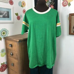 Vintage Football Style Jersey, 1960s 1970s Green & White Short Sleeve Knit Crew