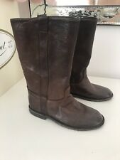 Bonpoint Girls Dark Chocolate Brown Leather Boots Size 30 UK 11.5 Infant