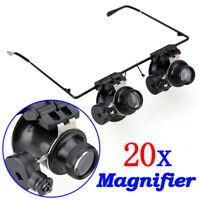 OCCHIALI LENTE INGRANDIMENTO 20X Magnifier Eye Loupe Lens Jeweler Watch LED Ligh