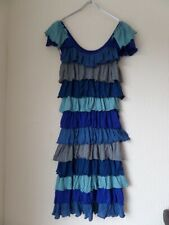 Y London Y260 Ladies Blue Combo Cap Sleeve Ruffle Tiered Dress Size S/8