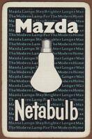 Playing Cards 1 Single Card Old MAZDA NETABULB LAMPS Lightbulb Advertising Art
