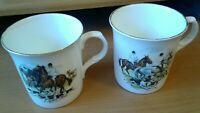 (2) Vintage Sheffield Fox Hunt Hunting Coffee Cups Mugs John Sinclair England