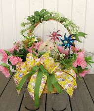 Pinwheel Easter Bunny Basket Childs Cemetery Grave Tombstone Saddle Silk Flowers