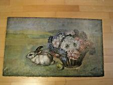 """Anton Filkuka (1888-1957) """"Osterhase mit Blumenkorb"""" Öl auf Leinwand, signiert,"""