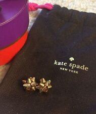14 kt Gold ✦ Kate Spade NY ✦ Bourgeois Bow Earrings Gift Box BIRTHDAY! AUTHENTIC
