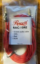 Brand *NEW Rosewill RAC-10RE 10-Foot 3.5mm Flat Audio Cable, Red Male to Male
