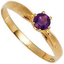 Ringe mit Amethyst echten Edelsteinen aus Gelbgold für Damen