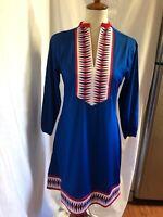 New Tracy Negoshian 3/4 Long Sleeve Red/White/Blue Shift Dress Size M