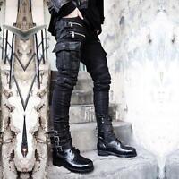 Mens Fashion Gothic Hip-hop Denim DJ pencil Black Pants Punk Rock Zip Trousers @