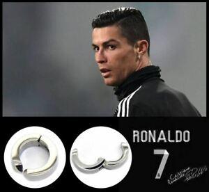 Men's/Boy's: RONALDO: Clip-On 18 Carat White Gold Plated Huggie/Hoop Earrings