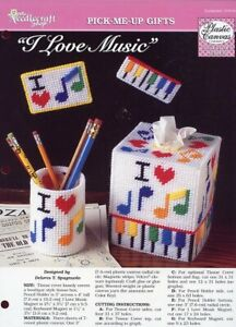 I Love Music Tissue Magnet Plastic Canvas PATTERN/INSTRUCTIONS/NEW/LEAFLET