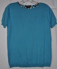 KOOS of Course Short Sleeve Jewel Neck Blue SWEATER Polka dot trim Size S