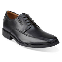 Clarks Men's 10310 Tilden Walk Black Leather Bike Toe Comfort Oxford Dress Shoe